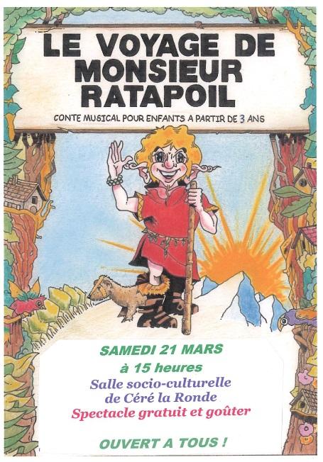 spectacle pour enfants : Le voyage de Monsieur Rastapoil Céré la Ronde