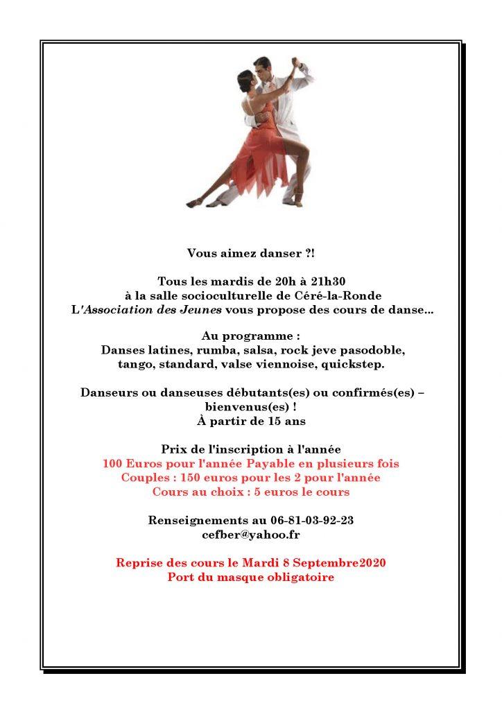 Cours de danses de salon 2020-2021 - Céré la Ronde