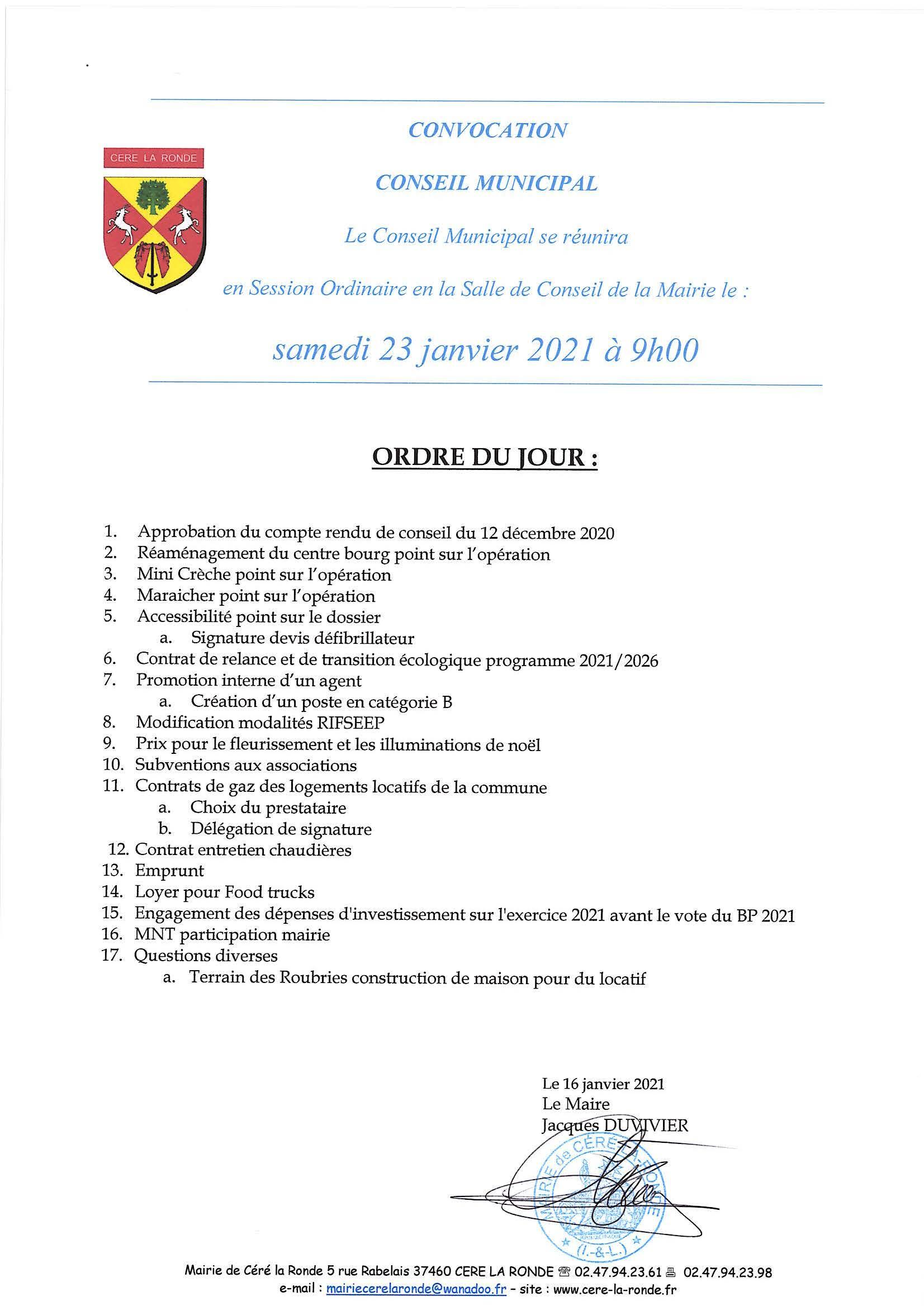 Convocation du Conseil Municipal du 23 janvier 2021