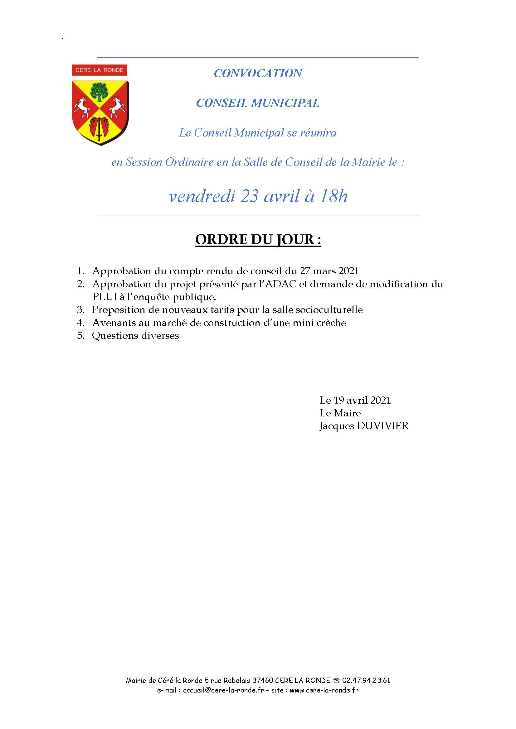 Convocation CM du 23.04.2021