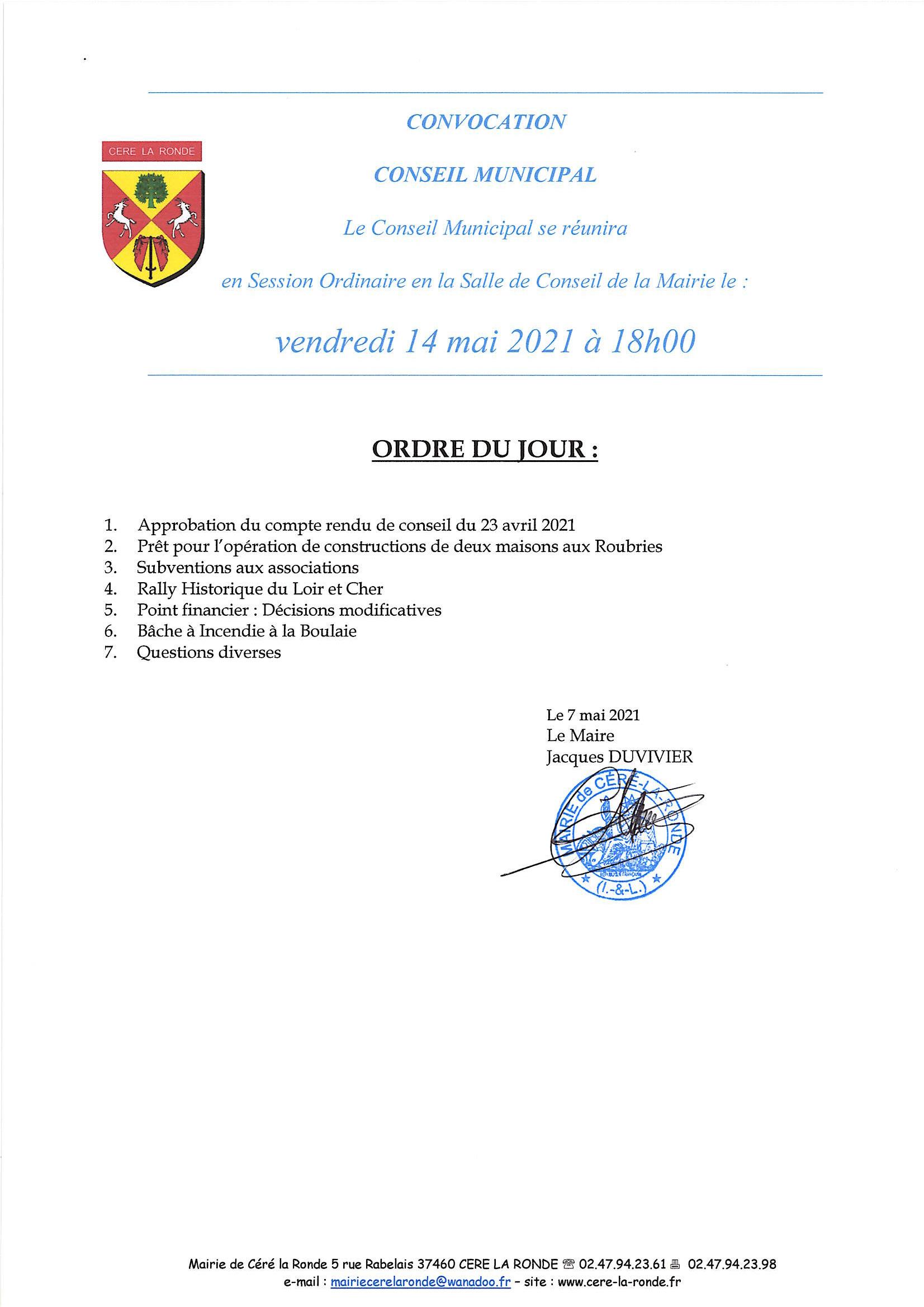 céré la ronde conseil municipal 14 mai 2021